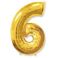 Воздушный шар с цифрой 6, фольгированный, 40
